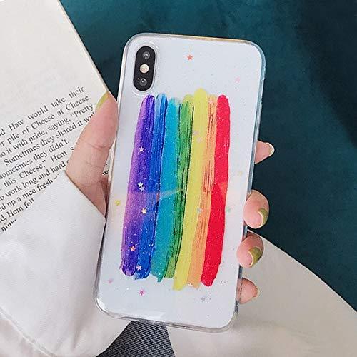 LIMITED Funda para teléfono Lack de Colores Brillantes y Estrellas Suaves para iPhone 11 11Pro MAX 7 Plus 8 6 6S X XS XR, Color Caramelo, Funda con Purpurina arcoíris (Estilo 1,For iPhone 7Plus)
