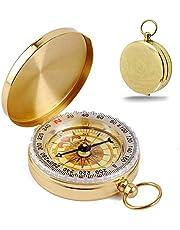 KANOSON Kompas voor navigatie, Vintage zakkompas met lichtgevende functie, waterdicht militair kompas voor kamperen/oriënteeren/wandelen/marcheren en verzamelen