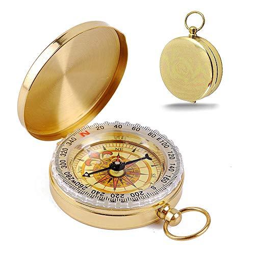 KANOSON Kompass Outdoor Navigation, Stoßfest Compass Militär Marschkompass Taschenkompass Kompass Kinder, Wasserdicht Kompass für Wandern Camping und Andere Aktivitäten im Freien(Golden)