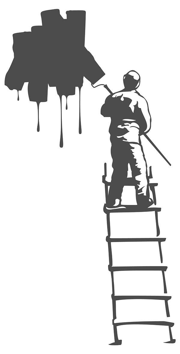 I Love de Pared Adhesivo 11368 Mini Pared Adhesivo Pintor en Escalera Trabajo Habitaciones Pared Decorativo para Pared Pegatinas, Beige, 14 x 18 cm: Amazon.es: Hogar