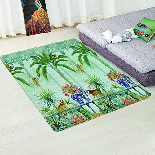 MMHJS Nordic Simple Leaf Landscape Printing Carpet Non-Slip Absorbent Coffee Table Desk Mat Bedroom Living Room Hotel Homestay Party Carpet