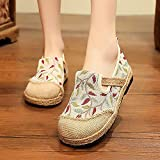 N&W Embroidered Shoes Handmade Women Linen Cotton Slip on Loafers Espadrilles Bohemian Embroidered Comfort Ladies Casual Flat Platform Shoes Old Beijing Embroidered Shoes