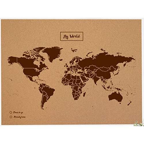 Miss Wood Map XL - Mapa del mundo de corcho, 60 x 90 cm, Marrón