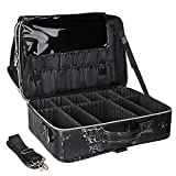 MONSTINA Large Makeup Travel Case Bag,Professional Makeup Artist Train Case with Brush organizer ,Large Capacity Marble Cosmetic Bag with Zipper Pocket and Adjustable Compartment for Palette Beauty