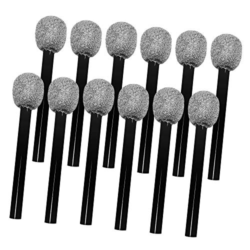 Windy City Novelties (12 Pack) Silver Glitter Pretend Toy Microphone for Kids Party Favors