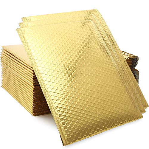 8.5 x 11 inch Bubble Mailers #2 Padded Mailing Envelopes 30 Packs, Gold Waterproof Self Seal Poly Bubble Mailer Padded Mailer Envelopes Cushioned Mailing Shipping Bags
