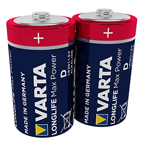 Varta Longlife Max Power Batterie (D Mono Alkaline Batterien LR20, Design/Produktname kann abweichen, 2er Pack)