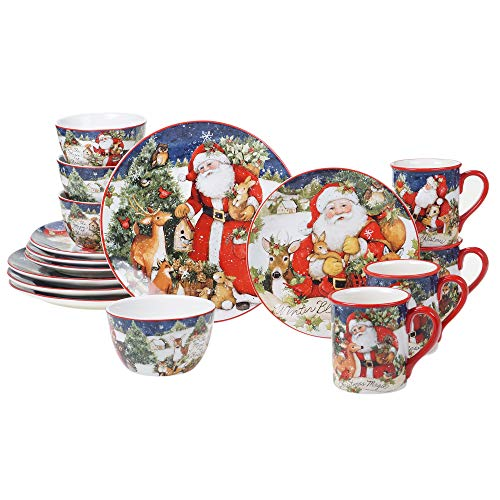 Certified International Magic Of Christmas Santa 16pc Dinnerware Set, Service for 4, Multicolored