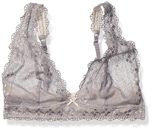 Heidi Klum Intimates Women's Geometric Lace Soft Cup Bra, Heather Mist/Silver Peony, M