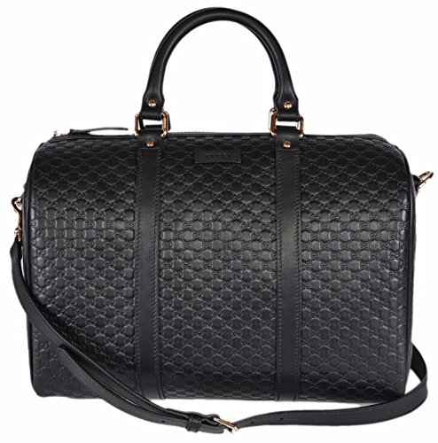 Gucci Women's Leather Micro GG Guccissima Convertible Boston Satchel Handbag (Black)