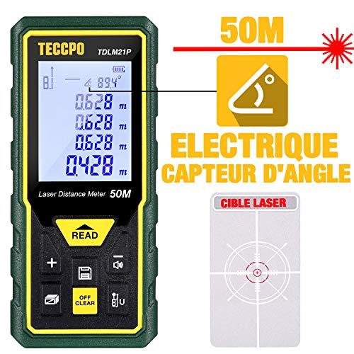 Télémètre laser 50M, Mesure laser TECCPO, Capteur Électronique Angulaire, m/in/ft/ft+in,...