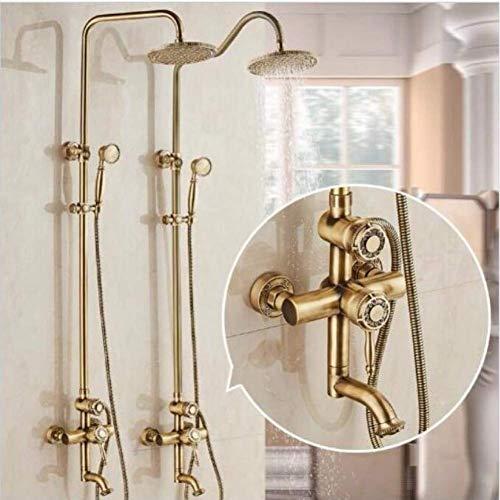 Zixin Taps Wasserfall-Badezimmer-Hahn-Messing Kran antike Bronze Bad Duscharmatur Wandmontage Dusche Wasserhahn Set mit Regenduschkopf Taps