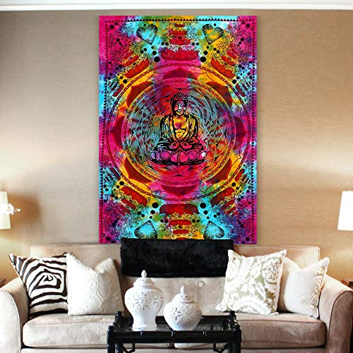 Nexxa-Buddha-Multi-76 Inches X 57 Inches Buddha Handmade Hippie Bohemian Boho Wall Hanging Bedding Tapestry Tie Dye Multi Color Bed Sheet Beach Blanket Bed Cover Dorm Deco