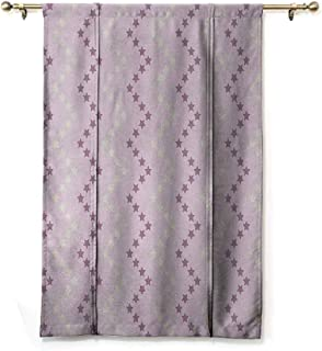 DILITECK Room Dark Black Insulated Roman Blind Mauve Zig Zag Stars Striped Pattern in Pastel Color Ranking Choice Kids Artsy Print Thermal Insulated Block Out Sunlight Shade Yellow and Lilac W36 xL64