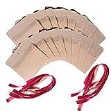 BESLIME Vintage Kraft Cinta Sobres - Vintage Kraft Cinta Sobres Regalo Sobres,con Cinta roja, Regalo Sobres para Invitaciones, Bodas, Navidad,17.3cm x 12.5cm,50 pcs