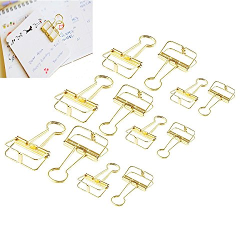 CCINEE サンケーキコム リーンクリップ ワイヤーダブルクリップ ゴールド 書類整理 12個入り(大6個、小6個)