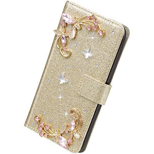 Herbests Kompatibel mit iPhone 11 Pro Max Hülle Klapphülle 3D Glänzend Bling Diamant Strass Schmetterling Muster Schutzhülle Bookstyle Flip Cover Leder Hülle Kartenfach Ständer,Gold