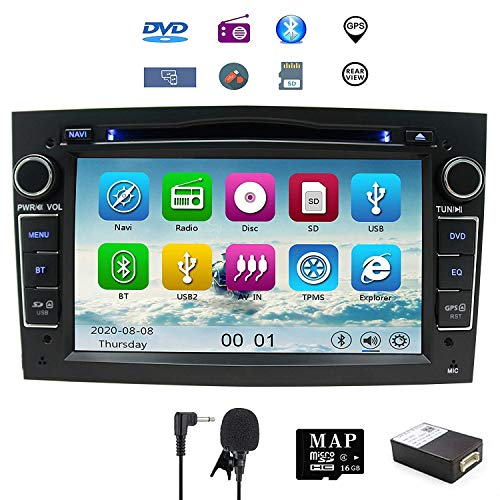 7'Reproductor de CD y DVD del Coche GPS Navi GPS para Opel Corsa Zafira Antara Astra Soporte GPS Audio Video Bluetooth USB SD SWC FM Am RDS (Negro)