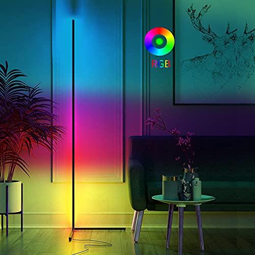 Lámpara de pie LED imodomio regulable con mando a distancia, columna de luz que cambia de color, temperatura de color RGB, lámpara de esquina y brillo, lámpara de pie continuamente regulable