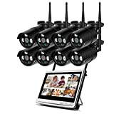 GIHI Sistema De Cámara CCTV Inalámbrica 1080P WiFi Cámara IP Set 16 '' Pantalla Full HD IPS 8CH Kit De 8 Cámaras para Exteriores con Audio Seguridad para El Hogar Video Vigilancia