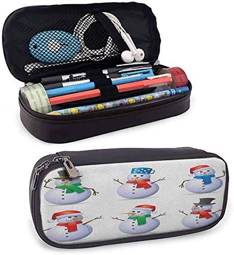 Weihnachten hohe Kapazität PU Leder Federmäppchen Set Schneemänner mit verschiedenen niedlichen Mützen und Schals Karotten Nasen Weihnachten Winter Thema Reißverschlusstasche für Stifte,