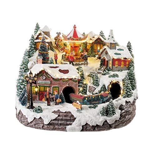 L'Oca Nera - Paesaggio di Natale con Trenino in Movimento e Musica, Decorazione con luci LED, Dim. 34x34x26h cm