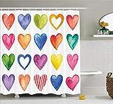 YEDL Duschvorhang Regenbogen Farbe Herzformen Valentinstag Design Romantisch Sein & Ihr Stoff Stoff Badezimmer Dekor 180 × 180 cm