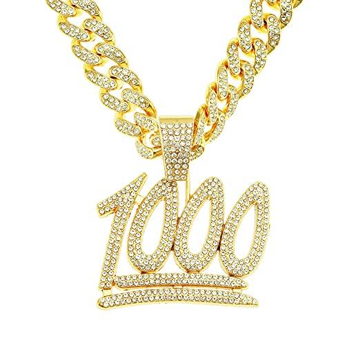 RXSHOUSH Hiphop Collar Número 1000 Colgante Circón 50 Pulgadas Cadena Cubana Oro Hombres y Mujeres Pareja Joyería Collar Colgante Oro