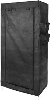 comprar comparacion PrimeMatik - Armario ropero guardarropa de Tela Desmontable 70 x 45 x 155 cm Negro con Puerta Enrollable