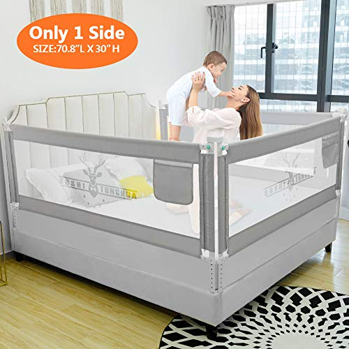 ZEHNHASE Barandilla de La Cama para bebés, Barrera de cama para niños Colchón doble, doble, tamaño completo tamaño queen y king (Cornamenta gris, 180cm, Children: M)