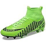 WOWEI Chaussures de Football Homme High Top Spike Crampons Profession Athlétisme Entrainement Chaussures de Sport,Vert,39 EU