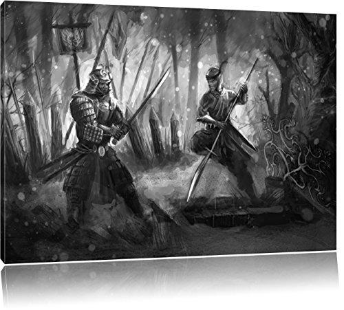 Pixxprint Kampf zwischen Samurai und Ninja als Leinwandbild | Größe: 100x70 | Wandbild| Kunstdruck | fertig bespannt