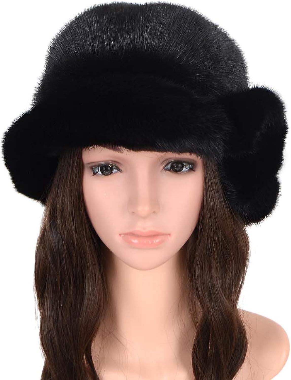 MH Bailment Women Winter Berets Real Mink Fur Flower Side Hat