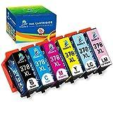 DOUBLE D 378XL - Cartucce di ricambio per Epson 378 XL 378 per Epson Expression Photo XP-8500 XP-8505 XP-15000 ad alta capacità (nero, blu, rosso, giallo, luce blu, luce rossa)