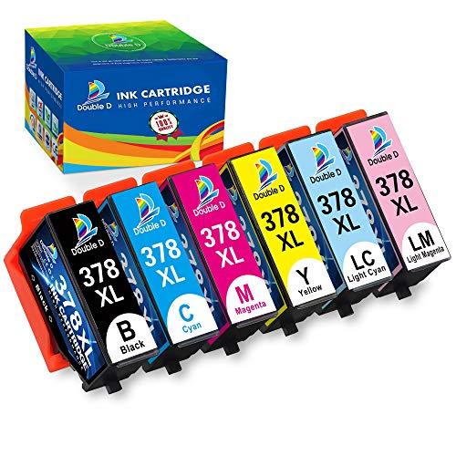 DOUBLE D 378XL Druckerpatronen Ersatz für Epson 378 XL 378 für Epson Expression Photo XP-8500 XP-8505 XP-15000 Hohe Kapazität 6er-Pack (Schwarz, Blau,Rot, Gelb, Licht Blau, Licht Rot)