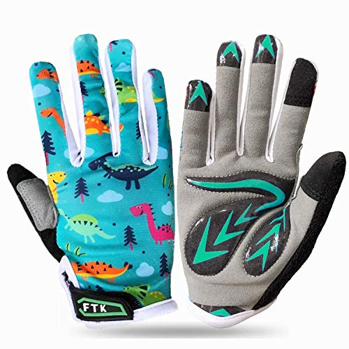 Product Image of the Cycling Gloves Kids Boys Girls Youth Full Finger Pair Bike Riding, Children...