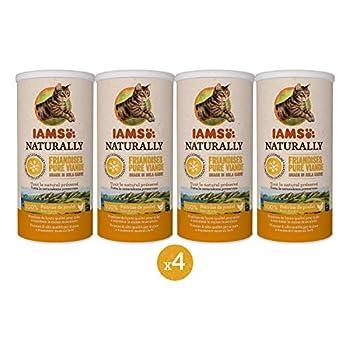 IAMS Naturally Friandises pour chats 100 % viande de poulet Qualité nutritionnelle et goût préservés ? Faible en graisses ? Sans : Céréales, OGM, sucres ajoutés, conservateur - Tube de 25g - Lot de 4