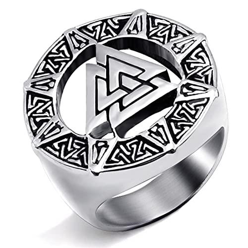Anillo de acero inoxidable para hombres y niños Scandinavn Odin Symbol Norse Silver Gold Biker Rings Jewelry 13 Silver