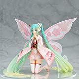 Anime Character Miku Hatsune Cheer Kimono Racing Hatsune Pink Fairy Hatsune Doll Figure High-end Model Sculpture Decoration Statue Height 22CM