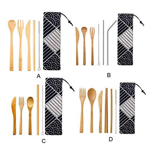 HSXQQ Bambus Besteck Set, Eco Friendly Besteck Set, Camping Besteck-Satz mit Spielraum-Beutel, Nicht leicht verformt, langlebig, leicht zu reinigen,
