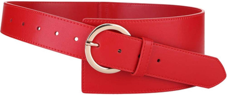 DENGDAI Women's Belts,Belt,Women's Fashion Diagonal Leather Girdle Windbreaker Wide Belt Length 100cm