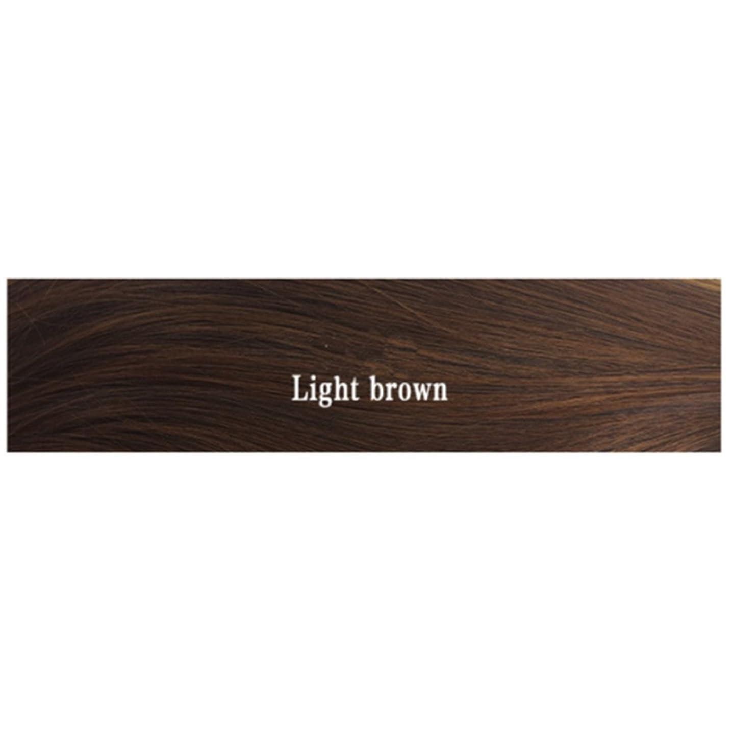 吸う亡命薬用JIANFU 女性 耐熱 長い ストレート ウィッグ 人間の髪 フラット バンズ ウィッグ ナチュラル カラー パーティ 220g (Color : Light brown)