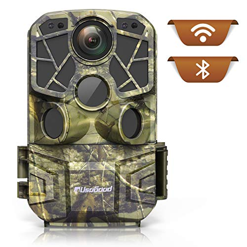 UsoGood-Wildkamera WLAN, 4K 24 MP, Bluetooth, App, Smartphone-Transfer. Bewegungserkennung, für Tag- Nacht, unsichtbare LED-Beleuchtung für Nachtfotos. Für Tierbeobachtung, Jagd und 1001 Dinge mehr!