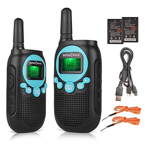 SOCOTRAN Talkie Walkies Avec Batterie Rechargeable au Lithium-ion PMR446 Radio pour Enfants une Aventure en Plein Air Jusqu'à 5 Miles Longue Portée 8 Canaux avec Lampe de Poche Twin Pack Bleu
