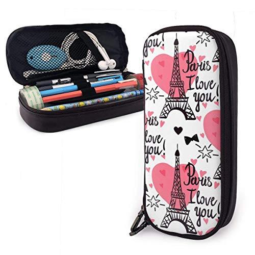 Estuche de lápices con cremallera multiusos para escuela, oficina, diseño de la Torre Eiffel, color rosa