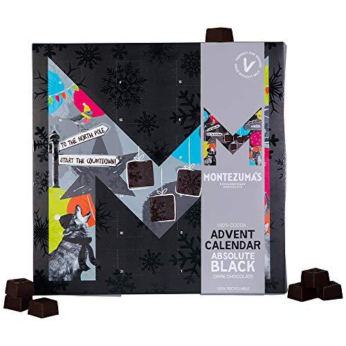 Montezumas Kerstmis, Absolute zwarte 100% cacao donkere chocolade adventskalender, veganistisch, 240g, 1700