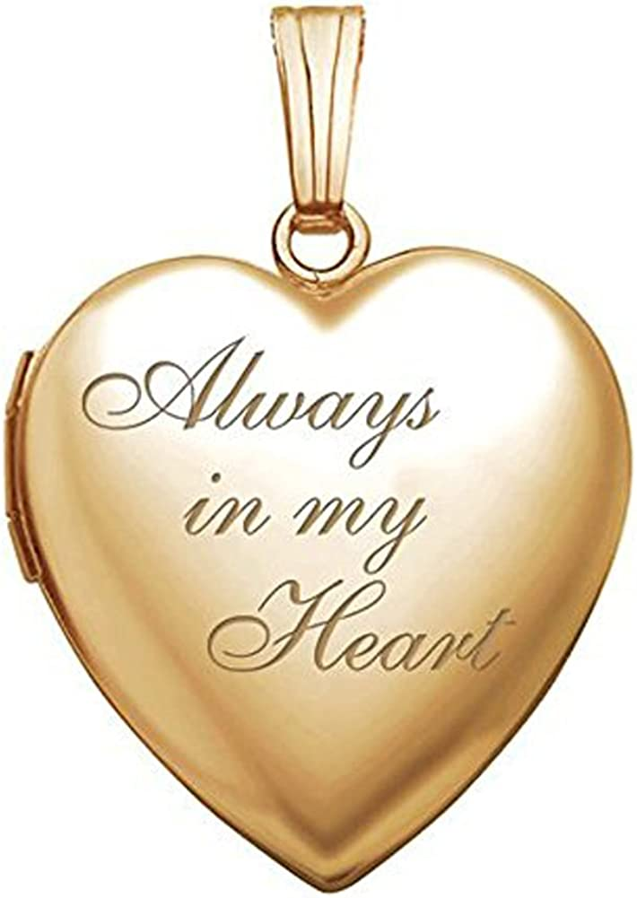 PicturesOnGold 14K Solid Yellow Gold / 14K Yellow Gold Filled Always in My Heart Locket - (3/4 X 3/4 Inch)