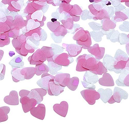 3000 Confeti Boda Papel de Corazón Confetti 25mm Party Circle Paper Table Confetti Dots con 3 Colores para Globos, Bodas, Decoraciones de Cumpleaños