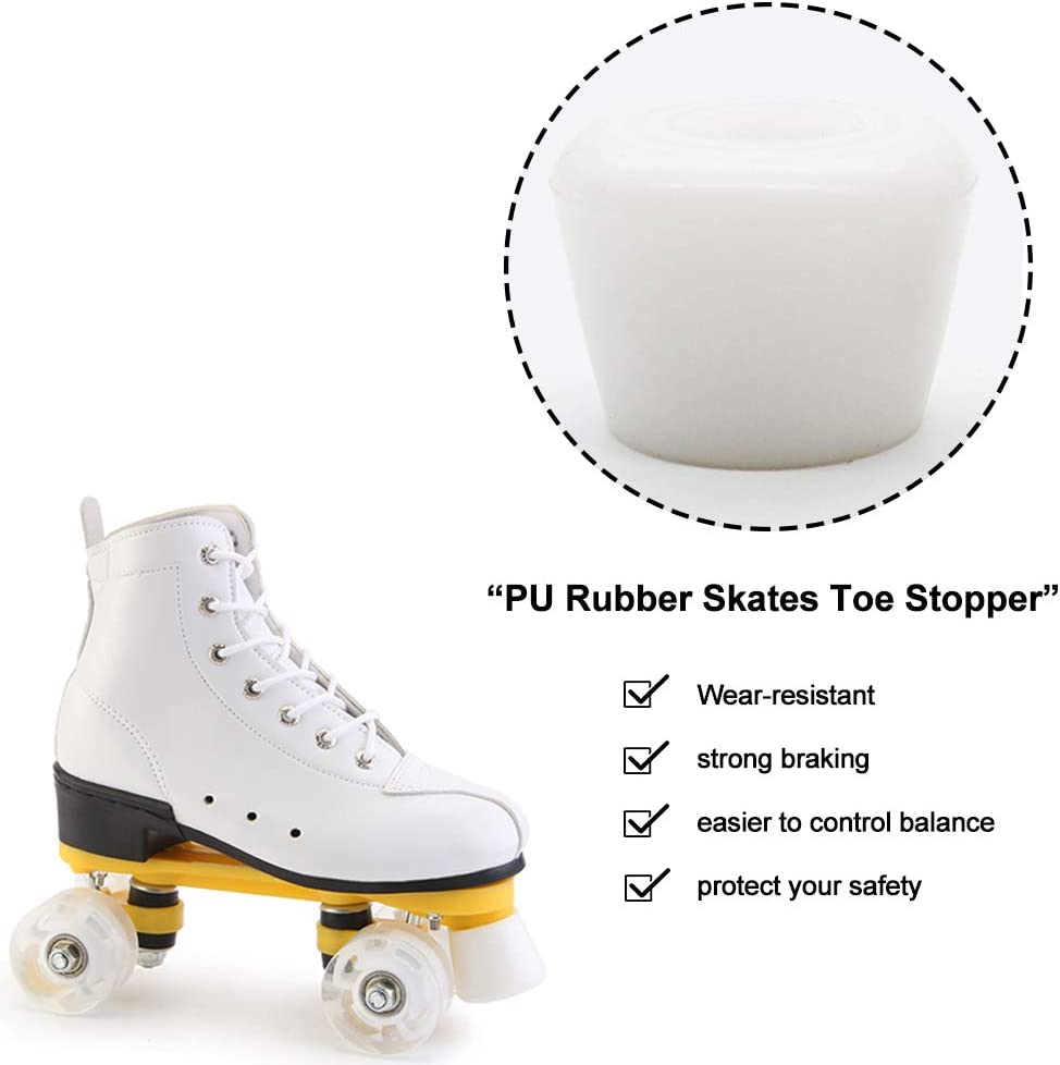 FYANER PU Rubber Roller Skate Toe Stoppers 1 Pair with Screws and 1X L-Shaped Wrench