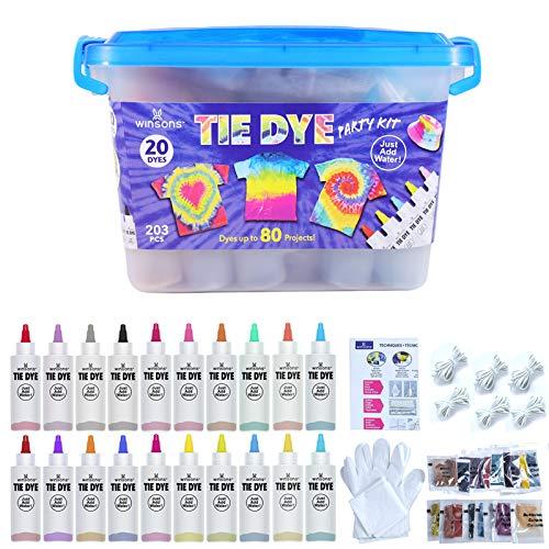 WINSONS Tie Dye Kit, 20 Colores de Tinte de Tela Permanente no tóxico Set de Arte para niños Mujeres para la Fiesta casera Actividades de Grupo Creativas Regalo de Bricolaje
